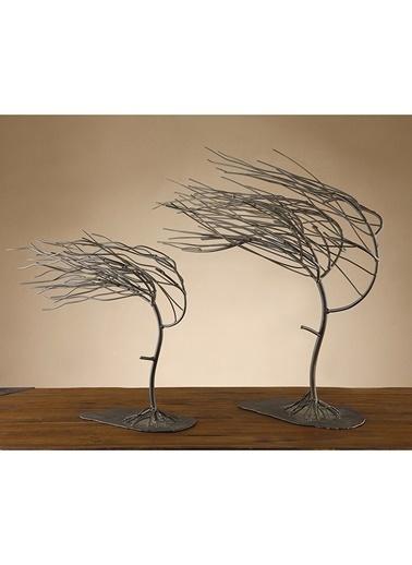 Cemile Wındy Woods Tree Sculptures 2'li Set 13X45 Cm Renkli